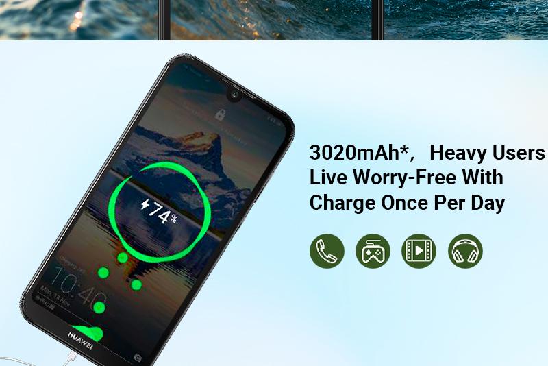 HUAWEI Y5 2019,  2GB RAM + 32 GB ROM Smartphone + Free Selfie Stick sapphire blue 9