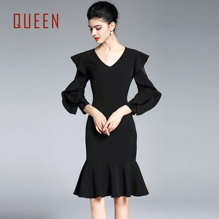 cd33f289eb4 QUEEN Spring New V-Neck Slim Package Hip Dress Women S Clothes Irregular  Hem Black Sexy