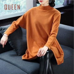 QUEEN New Autumn Winter Loose Plus Size Knitted Sweater Women'S Clothes Fashion Lady Elegant Top caramel XL