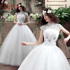 QUEEN 1 Piece High-Waist Cap Sleeve Wedding Dresses Backless Lace Up Sexy Bride Dresses Ball Gowns white s
