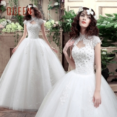 QUEEN 1 Piece Stand Collar Cap Sleeve Wedding Dresses Appliques Corset Bride Dresses Ball Gowns white s