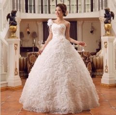 1 Piece Sexy One-Shoulder Lace Up Wedding Dresses Appliques Bride Dresses Ball Gowns white xl