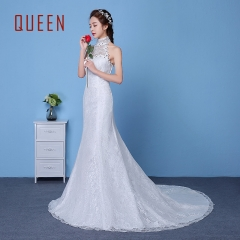 QUEEN 1 Piece Sexy Sleeveless Stand Collar Lace Up Wedding Dresses Corset Bride Dresses Ball Gowns white s