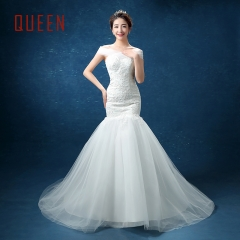 QUEEN 1 Piece Sexy Off Shoulder Lace Up Wedding Dresses Corset Bride Dresses Mermaid Ball Gowns white s