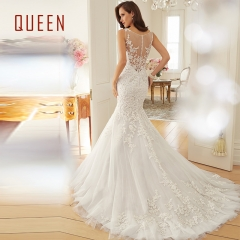 QUEEN 1 Piece Sexy Back See Through Wedding Dresses Mermaid Bride Dresses Ball Gowns m white