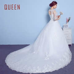 QUEEN 1 Piece Sexy Short Sleeve Lace Up Wedding Dresses Appliques Bride Dresses Ball Gowns white xxl