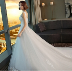 QUEEN 1 Piece Sexy Sleeveless Lace Up Wedding Dresses Beads Bride Dresses Long Tail  Ball Gowns white xxl
