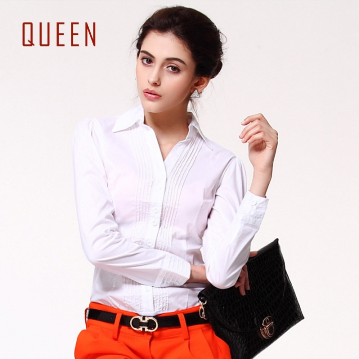 90a6554d805 QUEEN 1 Piece Large Size S-XXXXL Cotton Ruffle Office Lady Jumpsuits Blouse  Tops Women s