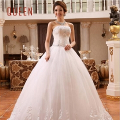 QUEEN 1 Piece Sexy One-Shoulder Lace Up Wedding Dresses Pearls Bride Dresses Ball Gowns l white