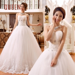 QUEEN 1 Piece Sexy Off Shoulder Lace Up Wedding Dresses PearlsBride Dresses Ball Gowns s white