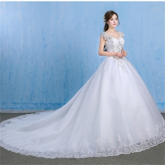 QUEEN off the shoulder wedding dress new  big size slim diamonds plus fat wedding luxury long tail s white