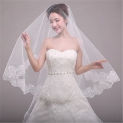 Bride's new wedding single layer lace veil 1.5 meters women version of the wedding accessories m white