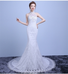 QUEEN New fashion hanging neck lace slim slimming waist fishtail small trailing bride wedding dress m white