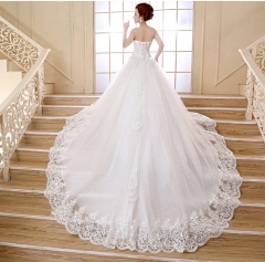 QUEEN Wedding dress new straps Qi tube top Korean version of the big tail white knot wedding dresses s white