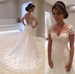 QUEEN new arrival Wedding dress bag shoulder drill Slim fishtail lace trailing wedding dress s white