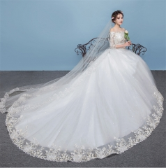 QUEEN New wedding dress bride married tailed princess dream Europe and America  was thin large size m white