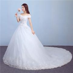 QUEEN Bride wedding dress new fashion word shoulder trailing sexy wedding dress s white
