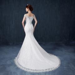QUEEN Popular new high-end fishtail wedding bride dress word bag shoulder slim slimming tail s white
