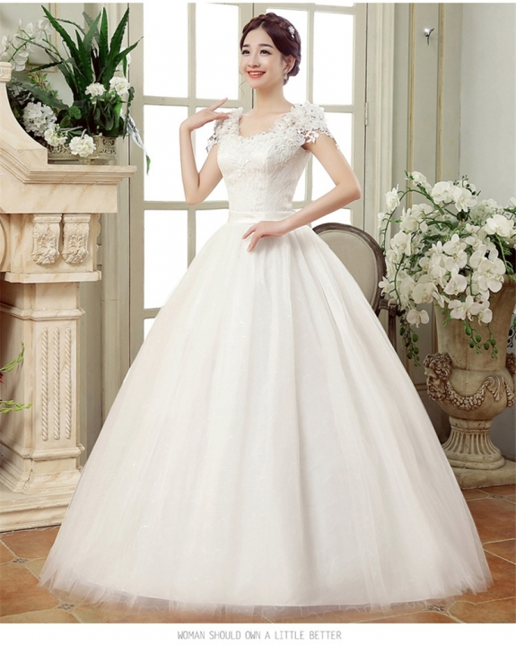 QUEEN Large size knot wedding dress Slim thin shoulders Qi fat lace flower off the shoulder s white