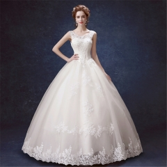 QUEEN 1 Piece Sexy Sleeveless Lace Up Wedding Dresses Appliques Classic Bride Dresses Ball Gowns l white