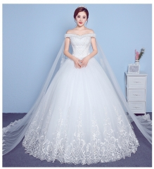 QUEEN 1 Piece Sexy Gorgeous Off Shoulder Lace Up Wedding Dresses Bride Dresses Ball Gowns s white