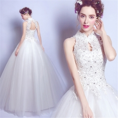 QUEEN 1 Piece Sexy Stand Clollar Lace Up Wedding Dresses Appliques Bride Dresses Ball Gowns xxl white