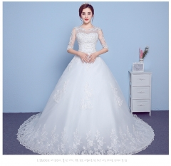QUEEN 1 Piece Sexy Short Sleeve Lace Up Wedding Dresses Appliques Bride Dresses Ball Gowns xxl