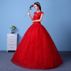 QUEEN 1 Piece Sexy Cap Sleeve Lace Up Wedding Dresses Corset Bride Dresses Ball Gowns m red
