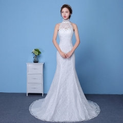 QUEEN 1 Piece Sexy Sleeveless Stand Collar Lace Up Wedding Dresses Corset Bride Dresses Ball Gowns xl white