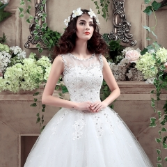 QUEEN 1 Piece Sexy Sleeveless Lace Up Wedding Dresses Appliques Pearls Bride Dresses Ball Gowns l white