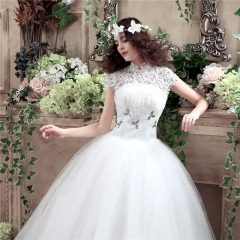QUEEN 1 Piece High-Waist Cap Sleeve Wedding Dresses Backless Lace Up Sexy Bride Dresses Ball Gowns s