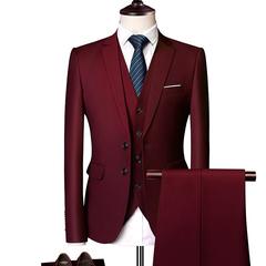 3 Pcs Men's Business Wedding Suits Sets Blazer Jacket Vest Pant Men Trouser Wedding wine red S