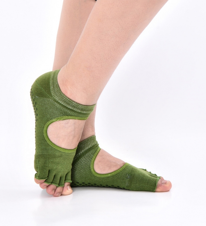 Yoga socks  Silicone non-slip solid professional sports cotton socks open back toe Average code green