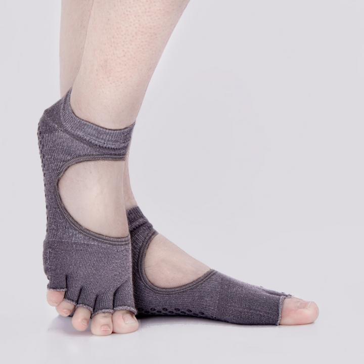 Yoga socks  Silicone non-slip solid professional sports cotton socks open back toe Average code gray