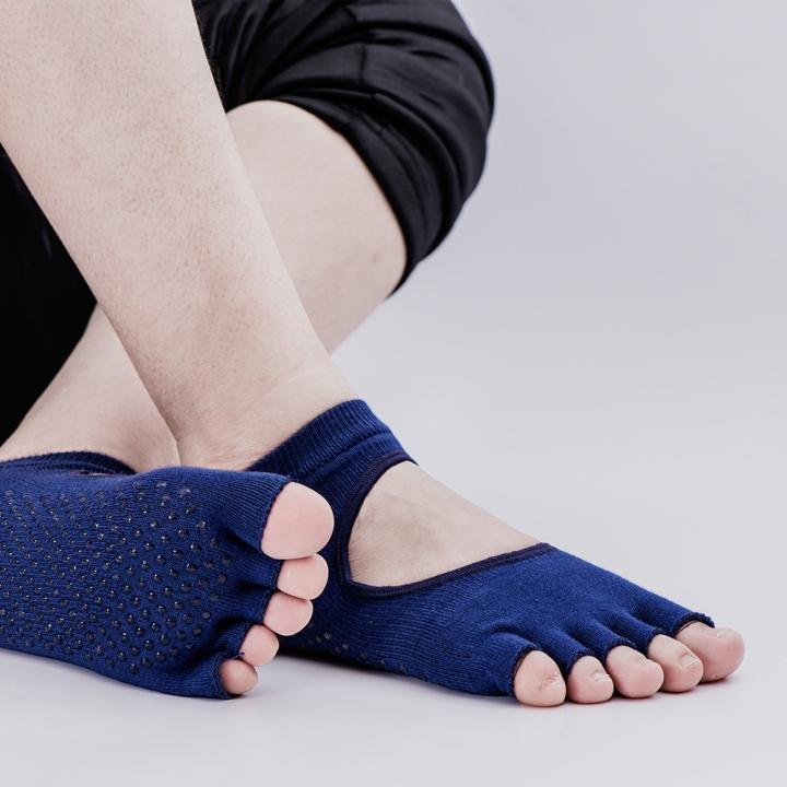 Yoga socks  Silicone non-slip solid professional sports cotton socks open back toe Average code blue