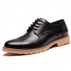 2018 Fashion Men's Business Wedding Party Shoes Retro Leather Black Brown Round Oxford Shoes black 6