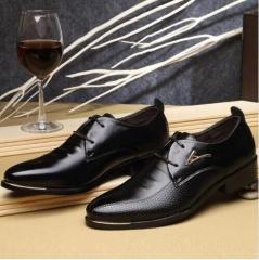 Men's Dress Shoes Fashion Tip Lace Business Casual Shoes Brown Black Leather Shoes Large Size black 6