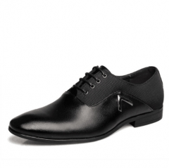Men's Leather Dress Shoes Brown Oxford Shoes Official Office Business British Lace-up Wedding Shoes black 6