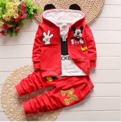 Children Spring and Autumn Three-piece Spring New Suit Pure Cotton Baby Spring Baby Clothing Set red 90