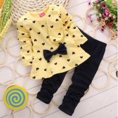 The new spring and autumn girls set T-shirt + pants 2 sets / children's cotton children's clothing. yellow 100