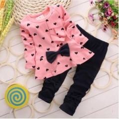 The new spring and autumn girls set T-shirt + pants 2 sets / children's cotton children's clothing. Pink 110