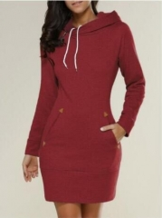 Hot style Europe and the United States fashion casual hooded long-sleeved sweater dress dark wine m