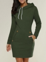 Hot style Europe and the United States fashion casual hooded long-sleeved sweater dress green l