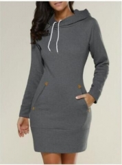 Hot style Europe and the United States fashion casual hooded long-sleeved sweater dress dark gray s