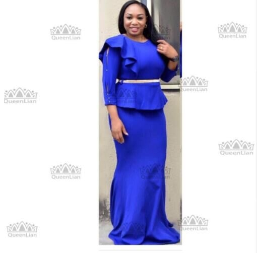 2017 African CLothing Fake Two Pcs Long Dress WIth Belt Dew shoulder For Lady blue l