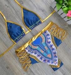 African Print Two-Piece Yukata Suit Set Bikini Sexy Geometric Swimsuit Swimsuit Gold NO1 s