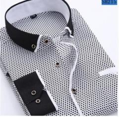Men Fashion Casual Long Sleeved Printed shirt Slim Fit Male Social Business Dress Shirt Brand Men SH215 M