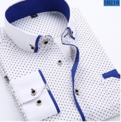 Men Fashion Casual Long Sleeved Printed shirt Slim Fit Male Social Business Dress Shirt Brand Men SH218 M