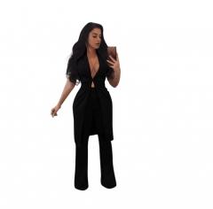 Womens Fashion Business Blazer Suits Two Pieces OL Pants Suits Single Button Long Coats black s
