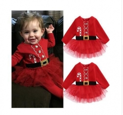 new red santa autumn winter xma Cute Christmas Princess Toddler infant newborn Baby Girl Tulle red 24M